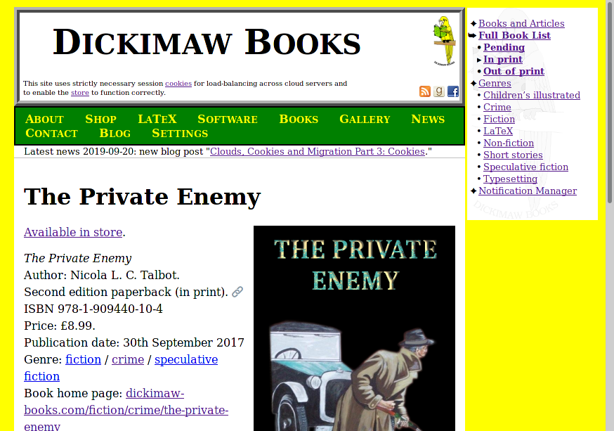 Image of a page on the Dickimaw Books site using the default settings