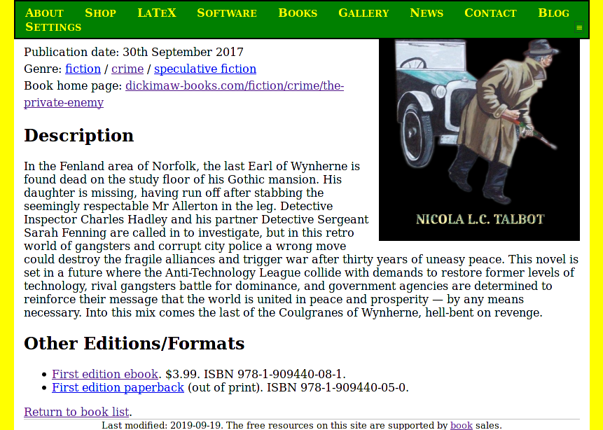 Image of site page with green navigation bar stuck to the top of the window.