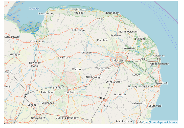 map of Norfolk and surrounding areas © OpenStreetMap contributors