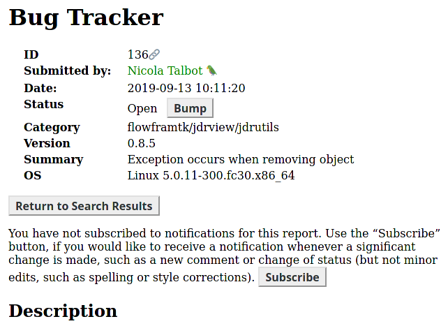 Image of bug tracker page for report #136