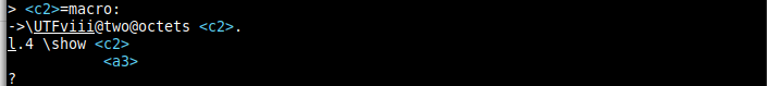 Image of the above transcript message shown in vim in binary mode: the invalid bytes C2 and A3 are shown as <c2> and <a3> (in cyan).