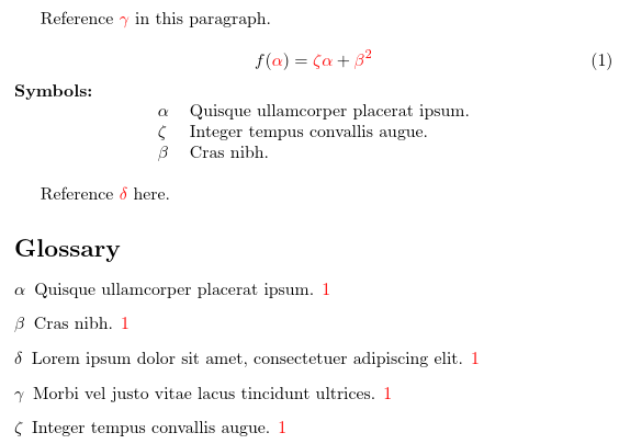 image of sample document with an equation followed by a short list of symbols and a full glossary at the end