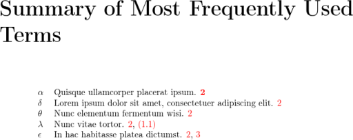 Image of summary of most frequently used terms